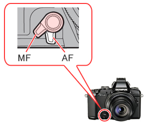 The lever on the front of the camera may be assigned to switch between the AF (Auto Focus) and MF (Manual Focus).
